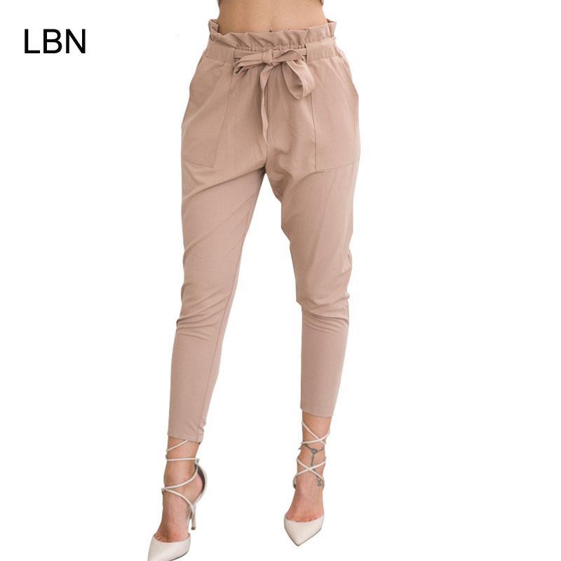 Compre 2018 Nova Marca De Alta Elástico Na Cintura Harem Pants Mulheres  Primavera Verão Moda Nona Calças Femininas Senhora Do Escritório Preto  Calças Cinto ... 147e19f36c97e