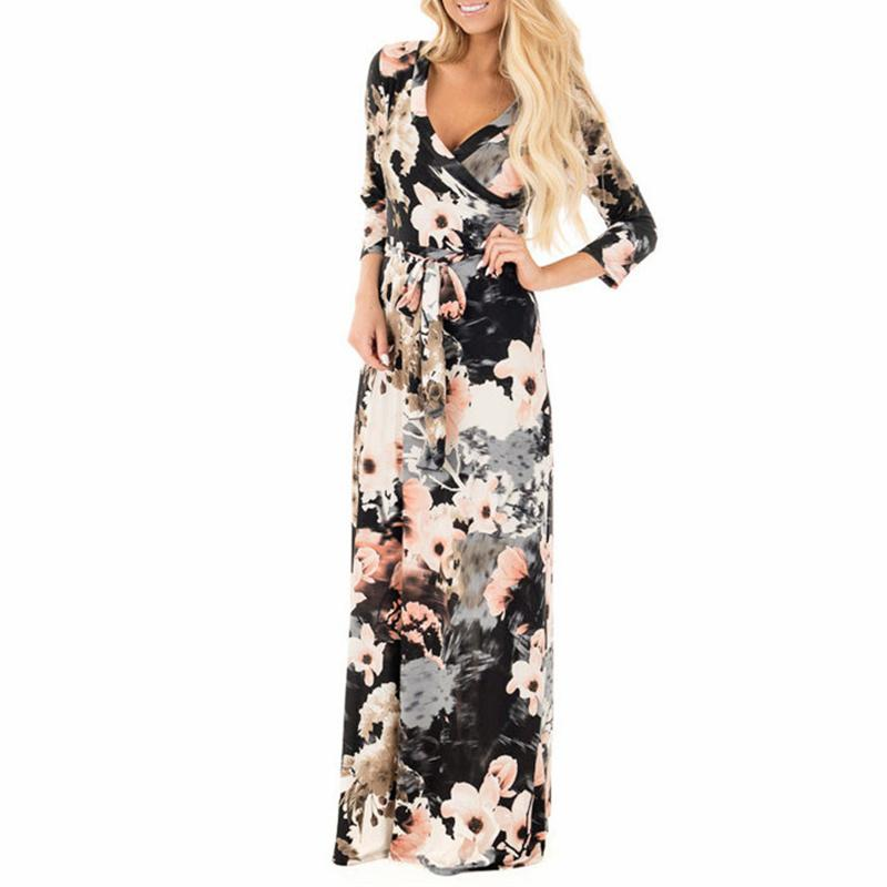 0d817fdc1c210 Saslax Sexy Boho Women Summer Floral Print V Neck Maxi Dress Beach Evening  Party Bandage Bodycon Ladies Long Dress Plus Size XXL UK 2019 From Bairi