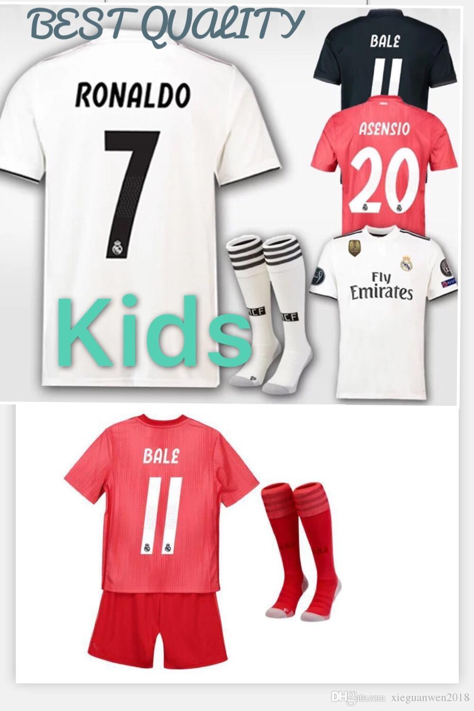 2019 2018 2019 Real Madrid Kids Soccer Jersey Kit 18 19 RONALDO BENZEMA  ISCO BALE ASENSIO MODRIC Youth Jerseys Home Child Football Shirt Uniforms  From ... 31834fc49