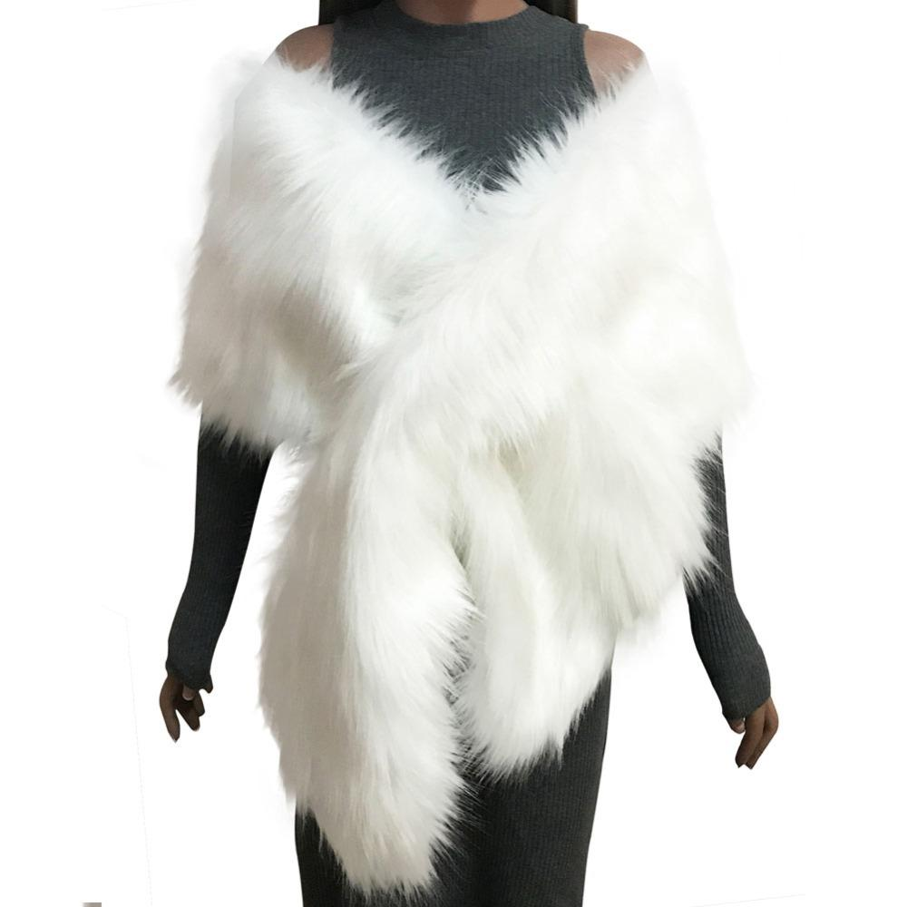 a8891b797cc1 2019 Winter Women Faux Fur Coat Ponchos Capes Bridal Wedding Dress Wraps  Fluffy Vest Coats Shawl Cape Black White Pink From Liangcloth
