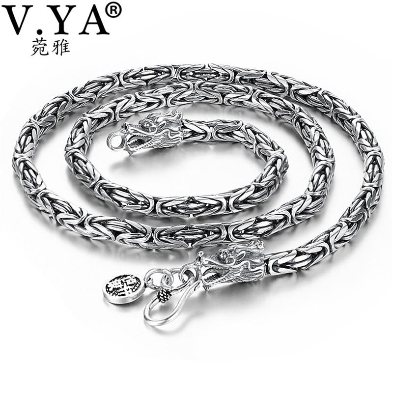 af6d3bc1fc1c28 2019 V.YA Punk Style Real Silver Dragon Necklace Men Chain 925 Sterling  Silver Necklaces For Male Mens 50cm 55cm 60cm From Kwind, $140.31 |  DHgate.Com