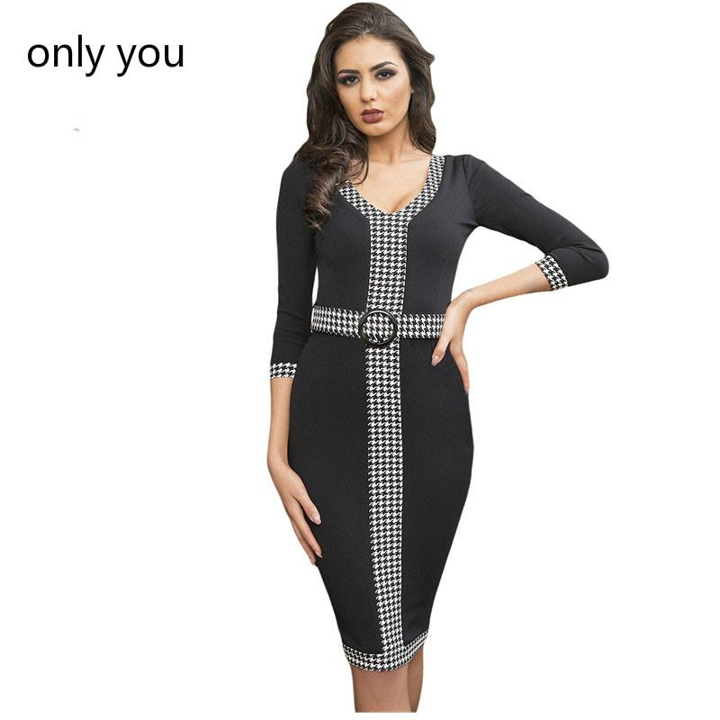 e56ab8083eba 2019 Only You 3/4 Sleeve Autumn Dress Work Women Black Houndstooth Detail  Sheath Office Bodycon Midi Dress Vintage Vestidos LC61878 From Tayler, ...