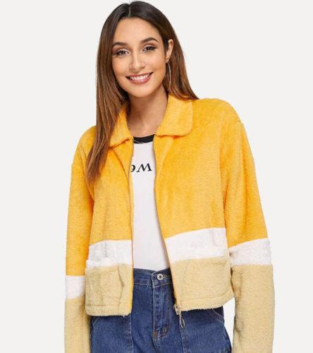 Ladies Faux Fur Zip Short Bomber Jackets Sexy Yellow Women Long
