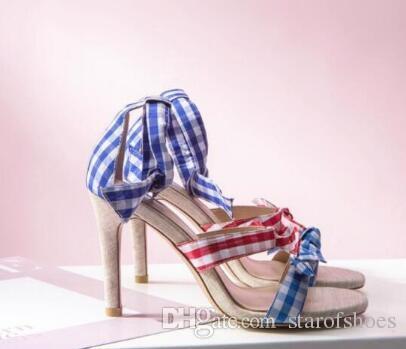 2018 Grid Print Sandali Bowtie Tacchi alti Colore misto Estate Celebrity Shoes Donna Sandalo Knot Sandali Pompe da sposa