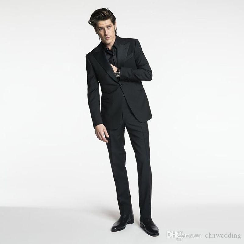 Slim Fit Black Wedding Suits Groom Tuxedos Formal Business Wear