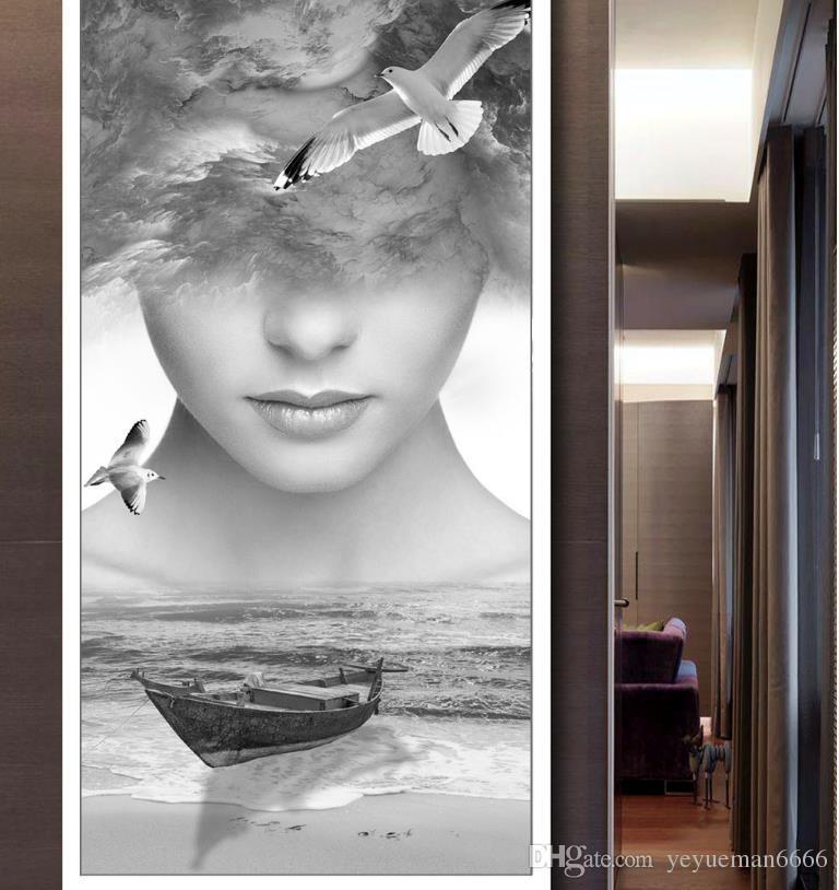 Pinturas decorativas Personalice la vista del mar en Europa Fondos de pantalla de sala de estar Figura abstracta Papeles de pared 3 D Decoración para el hogar