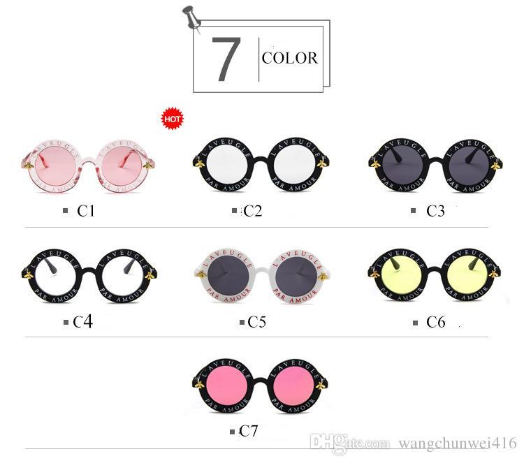 Round Sunglasses English Letters Little Bee Sun Glasses Men Women Brand Glasses Designer Fashion Male Female