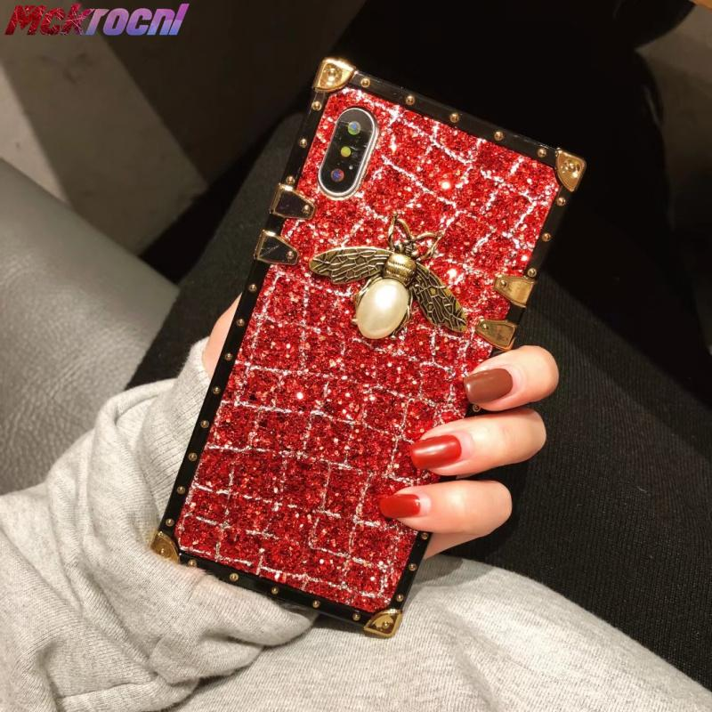 save off 8ed2d 03d83 Shining Cases for iphone 7 8 plus Flash Queen Ant Luxury Glitter Queen bee  Crystal Square Lattice for iphone X Case