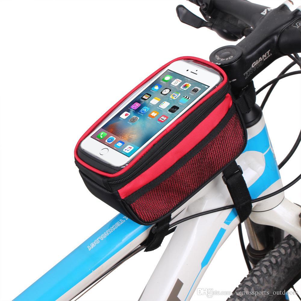 Sacos de bicicleta Ciclismo Quadro Da Bicicleta 5.7 polegada Tela Sensível Ao Toque Suporte de Telefone Quadro Tubo Saco De Armazenamento MTB Bicicleta de Estrada Bolsa Caso