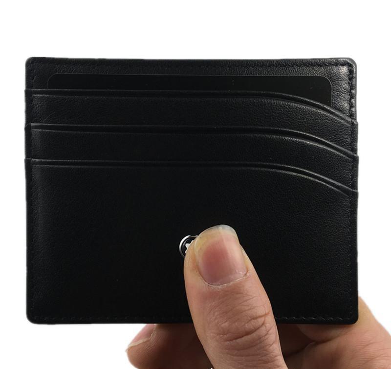 Fashion Id Card Case Genuine Leather Purse Luxury Brand Black