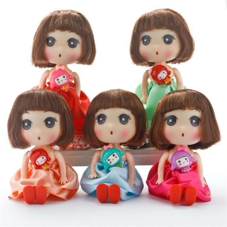 12CM Petit mini poupées Ddung Baby Doll Toy Girl robe de mariage poupée Sac pendentif pour fille cadeau de Noël d'anniversaire livraison gratuite