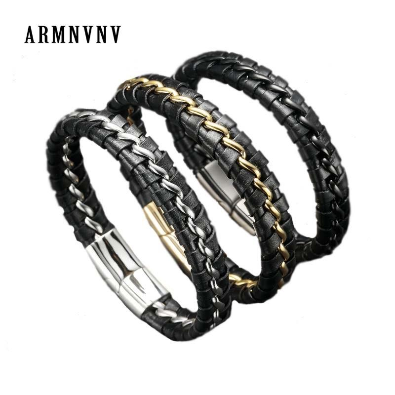 b463f86ecd3dd ARMNVNV Mens stainless steel black leather link chain bracelet gold silver  color jewelry birthday gifts for dad him boyfriend