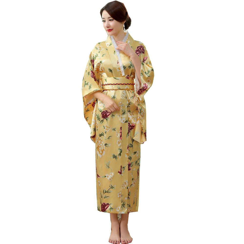 4e8533d4ad 2019 Japanese Traditional Women Silk Rayon Kimono Vintage Yukata With Obi  Performance Dance Dress Halloween Costume One Size HL04 From Kennethy