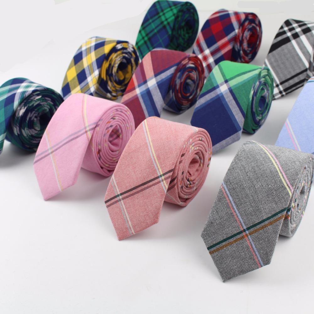 1ea8c1258e74c 2019 Striped Soft Mens 100% Cotton Necktie Bright Check Artificial Skinny  Ties Men Business Small Tie Designer Cravat From Value222, $26.03 |  DHgate.Com