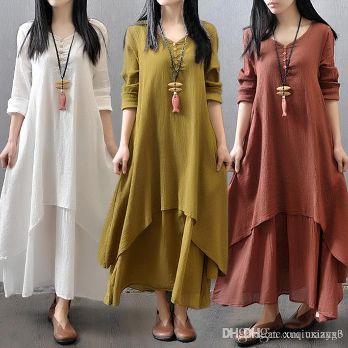 2b85476d44 5XL 2018 Casual Women Cotton Linen Long Spring Dress Irregular Loose Long  Sleeve Maxi Dress Solid Big Swing Plus Size Vestidos Party Dress Gold Pink  Casual ...