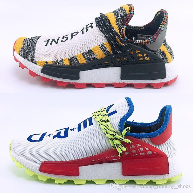 69b82c632 2018 Creme X NERD Solar PacK Human Race Running Shoes Pharrell Williams Hu  Trail Cream Core Black Equality Trainers Men Women Sports Sneaker Walking  Shoes ...