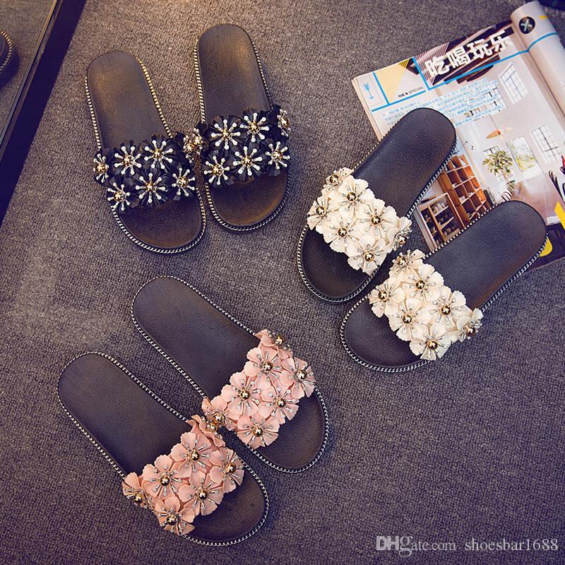 decf8e576a07a3 2018 Summer Sweet Girls Slippers Flower Women Sandals Flat Flip Flops Boho  Sandals Beach Slippers EH029 Cowgirl Boots Over The Knee Boots From  Shoesbar1688