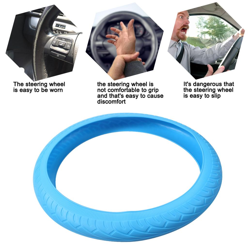 Auto Car Steering Wheel Cover Universal Soft Silicone Cover Skidproof Shell Protector for Vehicle Steering wheel