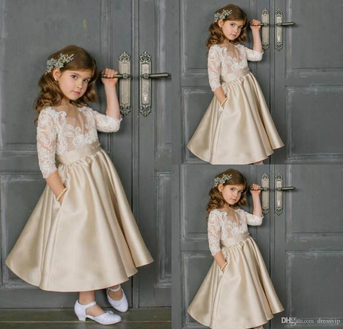 88f4ba27c 2018 Champagne Flower Girls Dresses Sheer Neck Vintage Lace Appliques  Illusion 3/4 Sleeves Satin Ankle Length Girls Formal Gown Flowergirl  Princess Dresses ...
