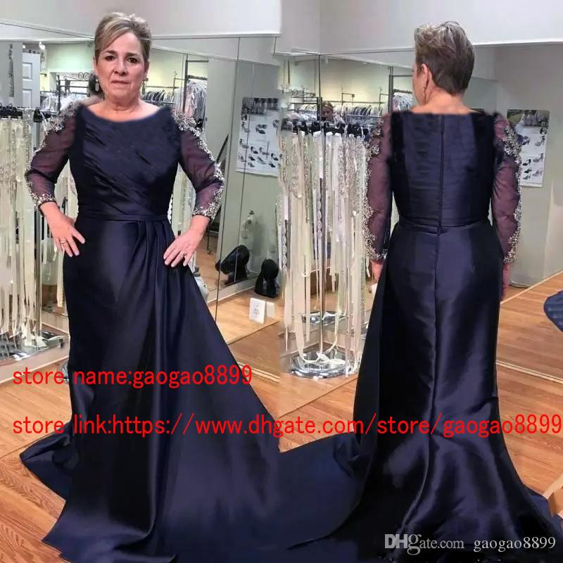 0d14485c2f2 Unique Designer Navy Blue Mother Of The Bride Dresses Long Sleeve Modest  Jewel Neck Gold Lace Plus Size Formal Evening Gowns Groom Mother Mother Of  The ...