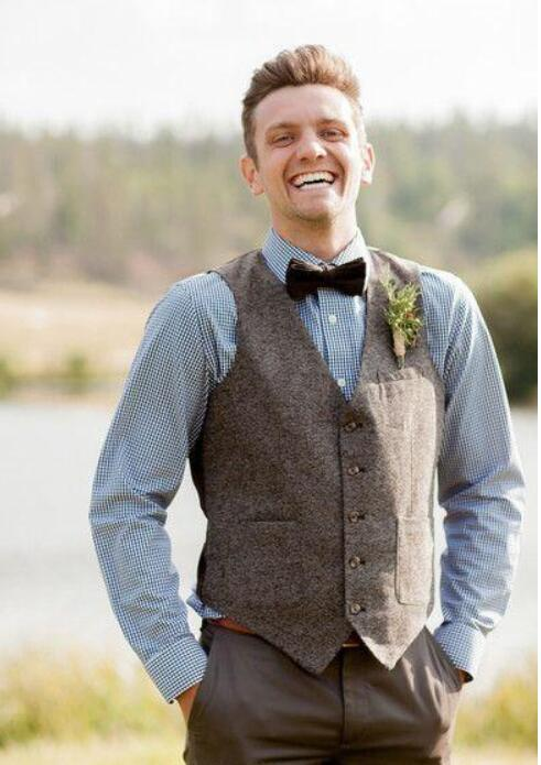 S Wool Buttons Fit Wedding Vintage Men Suit Groom Vest Slim Dress Tweed Gray Herringbone Vests Five Waistcoat tsrdCxBQh