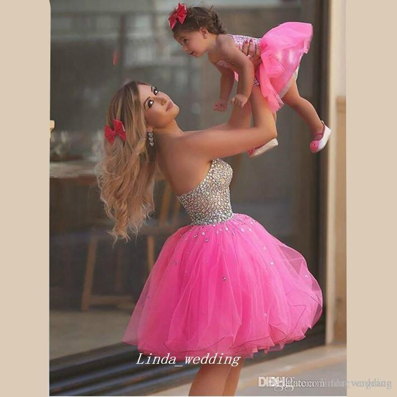 bbb5ef6a802 Short Pink Mother And Daughter Matching Crystals Prom Dress Sexy Custom  Made Homecoming Dress Party Gown Plus Size Price For Mother Dress Prom  Dresses ...