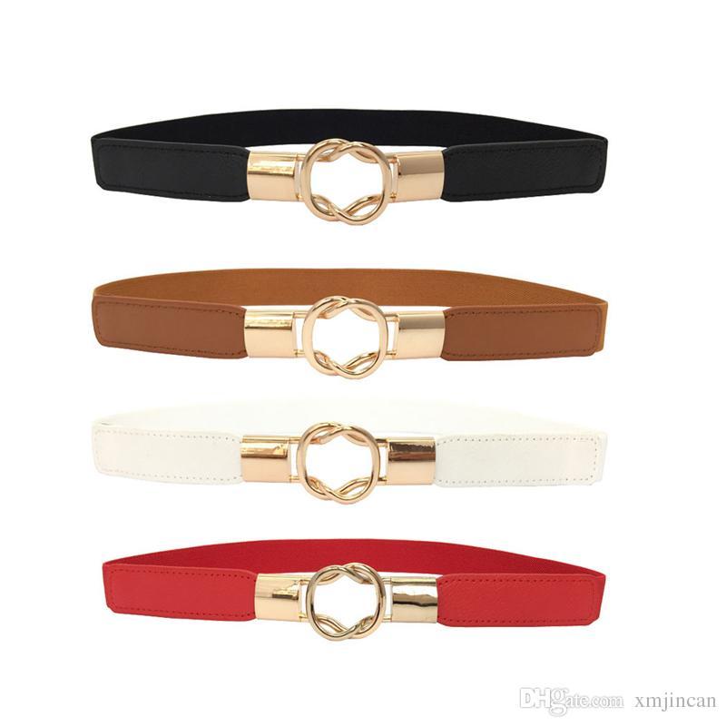 Compre 300 UNIDS   LOTE Mujeres Moda Cintura Elástica Cinturón De Metal  Hebilla Thin Mujeres Cinturones Correa Rojo Negro Marrón Blanco A  456.86  Del ... f938361a8f39