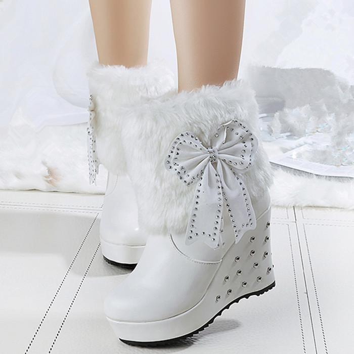 85ca819b542 Fashion Women Bow Ankle Boots Black White Leather Wedges Boots Ladies  Rivets Snow Boots Round Toe High Heel Short Boots Over The Knee Boots  Cowgirl Boots ...