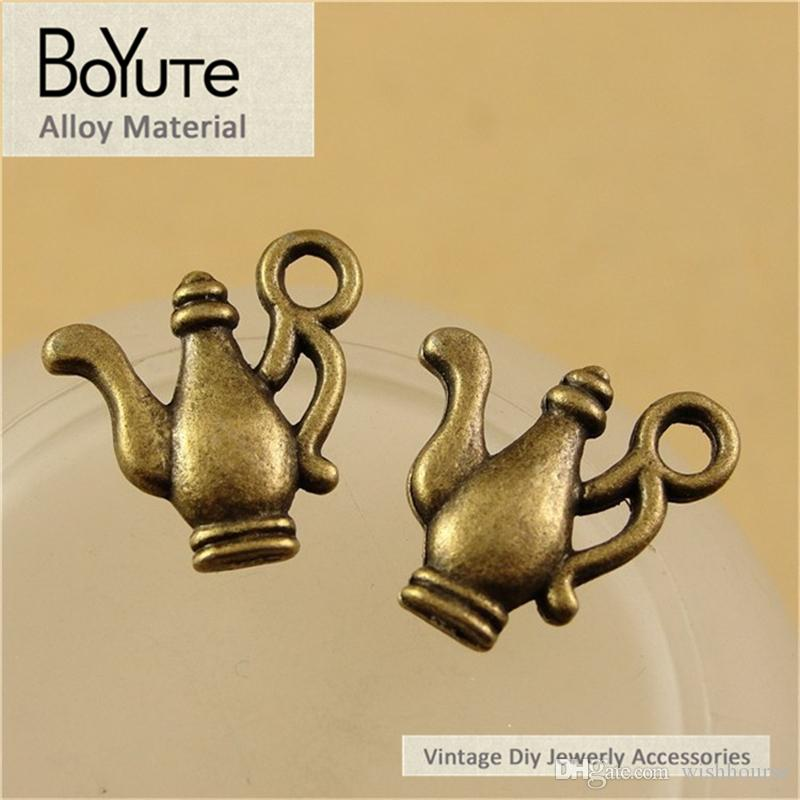 BoYuTe / 15*15MM Antique Bronze Plated Zinc Alloy Teapot Charms for Jewelry Findings Components Diy Necklace Hand Made