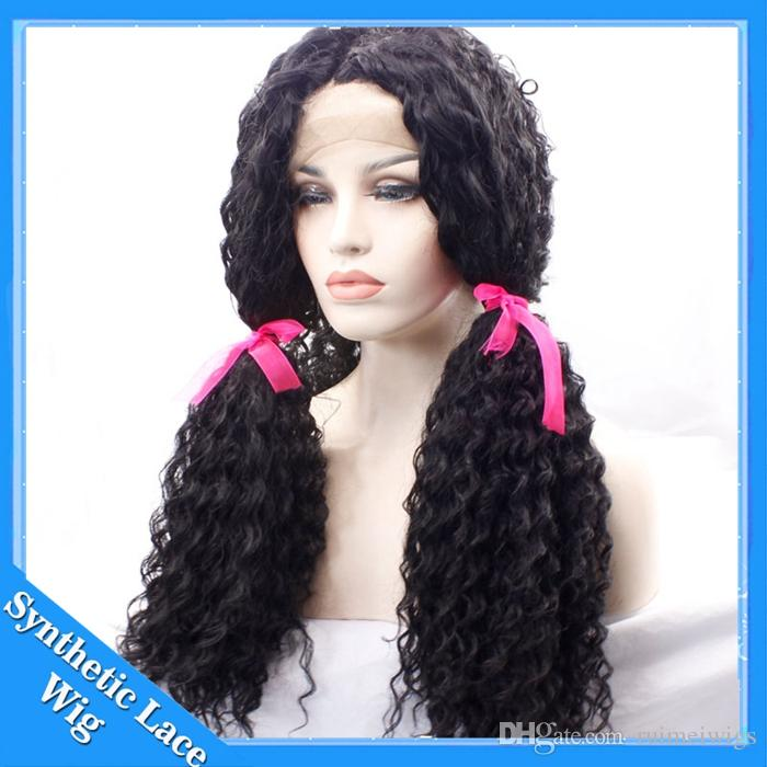 Synthetic Afro Curly Hair Wigs for Black Women Long Kinky Curly Lace Front Wig Heat Resistance Fiber Jet Black Hair with Baby Hair