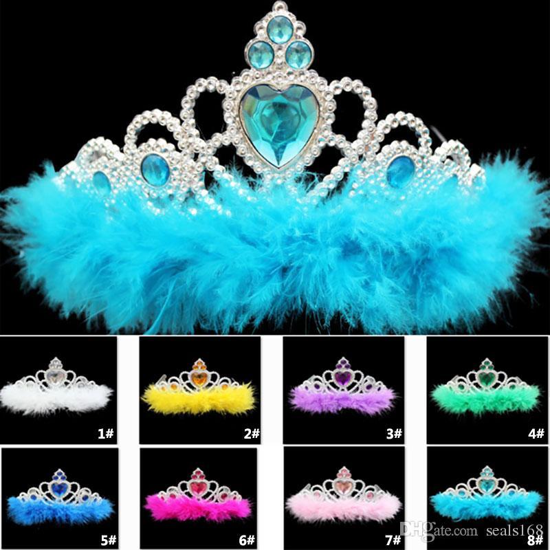 Новые пластиковые перья принцесса корона дети дети взрослые девушки горный хрусталь аксессуары для волос диадемы косплей корона ну вечеринку подарки TY7-119