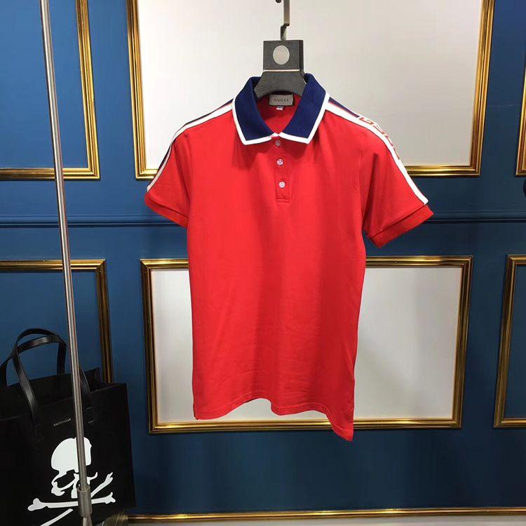 Compre Verão Designer De Moda Marca De Luxo Marca Clothing Homens Tecido  Letra Polo T Shirt Gola De Turn Down Casual Mulheres Camiseta Tee Polo  Camisa De ... b0319cc3b3834