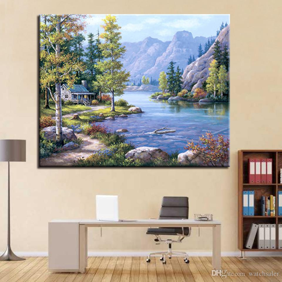 DIY Oil Painting By Numbers Kits HandPainted Stream Mountains Woods House Canvas Pictures Living Room Decor Wall Scenery Framed