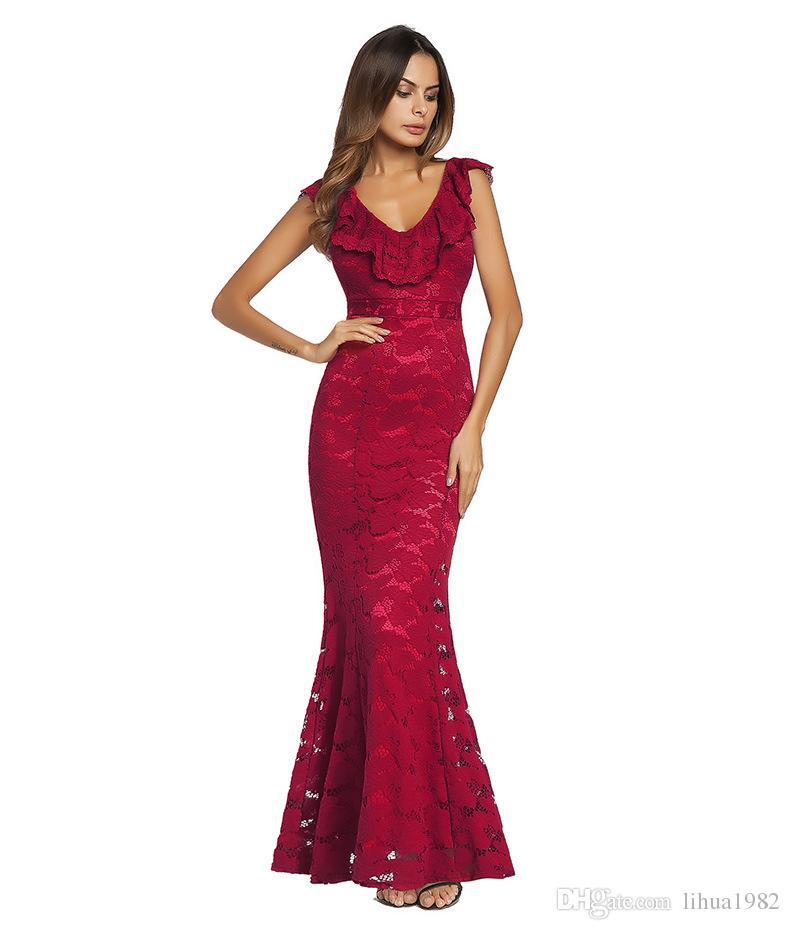 bf79e0124174e Satın Al Kadın Elbise Kırmızı Seksi Dantel Elbise Resmi Kıyafetleri Yeni  Styie Lady Etek 2018 Bahar Ve Yaz Siyah Tam Elbise, $22.11 | DHgate.Com'da