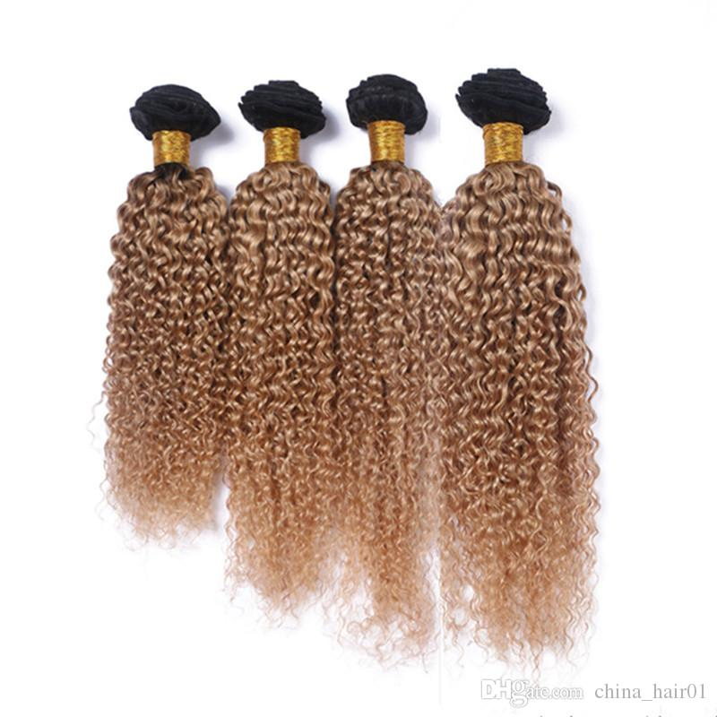 Kinky Curly #1B/27 Honey Blonde Ombre Brazilian Human Hair Weave Extensions 4Pcs Lot Light Brown Ombre Virgin Human Hair Bundles Deals