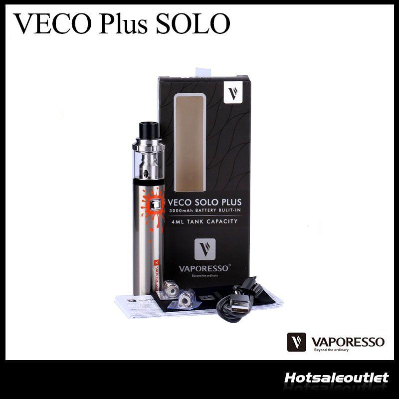 Otantik Vaporesso VECO PLUS SOLO Başlangıç Seti W / 4 mi Tankı Dahili 3300mAH Pil Orijinal Kalem Stil Vape Starter Kit
