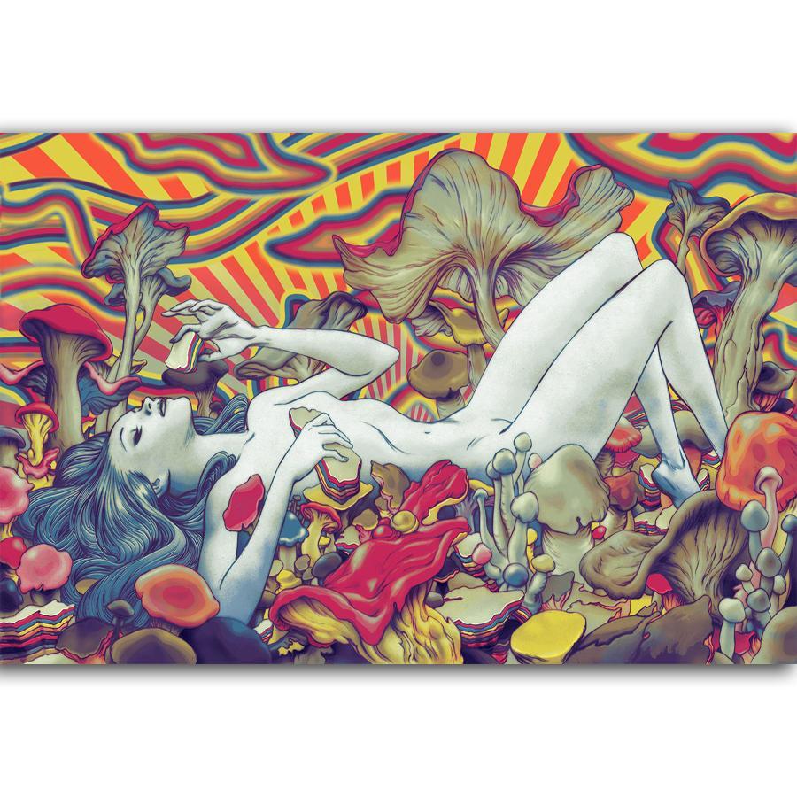 2019 g323 trippy girl beauty mushroom art poster silk light canvas