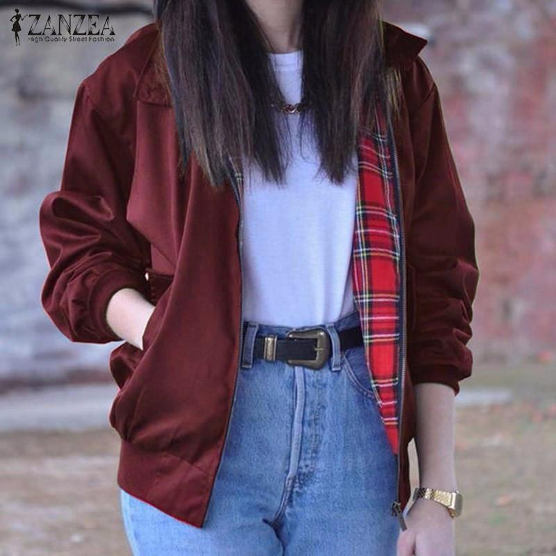 2017 Autunno ZANZEA Donna Casual Outwear Manica lunga Vintage Tartan Tasche con cerniera Bomber Slim Jacket Coat Plus Size Oversize