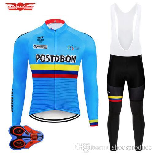 20198bf89 2018 Team Colombia Long Sleeve Cycling Jersey Set Mountain Bike Clothing  Bicycle Clothes Wear Ropa Maillot Ciclismo 9D Pad Online with  42.06 Piece  on ...