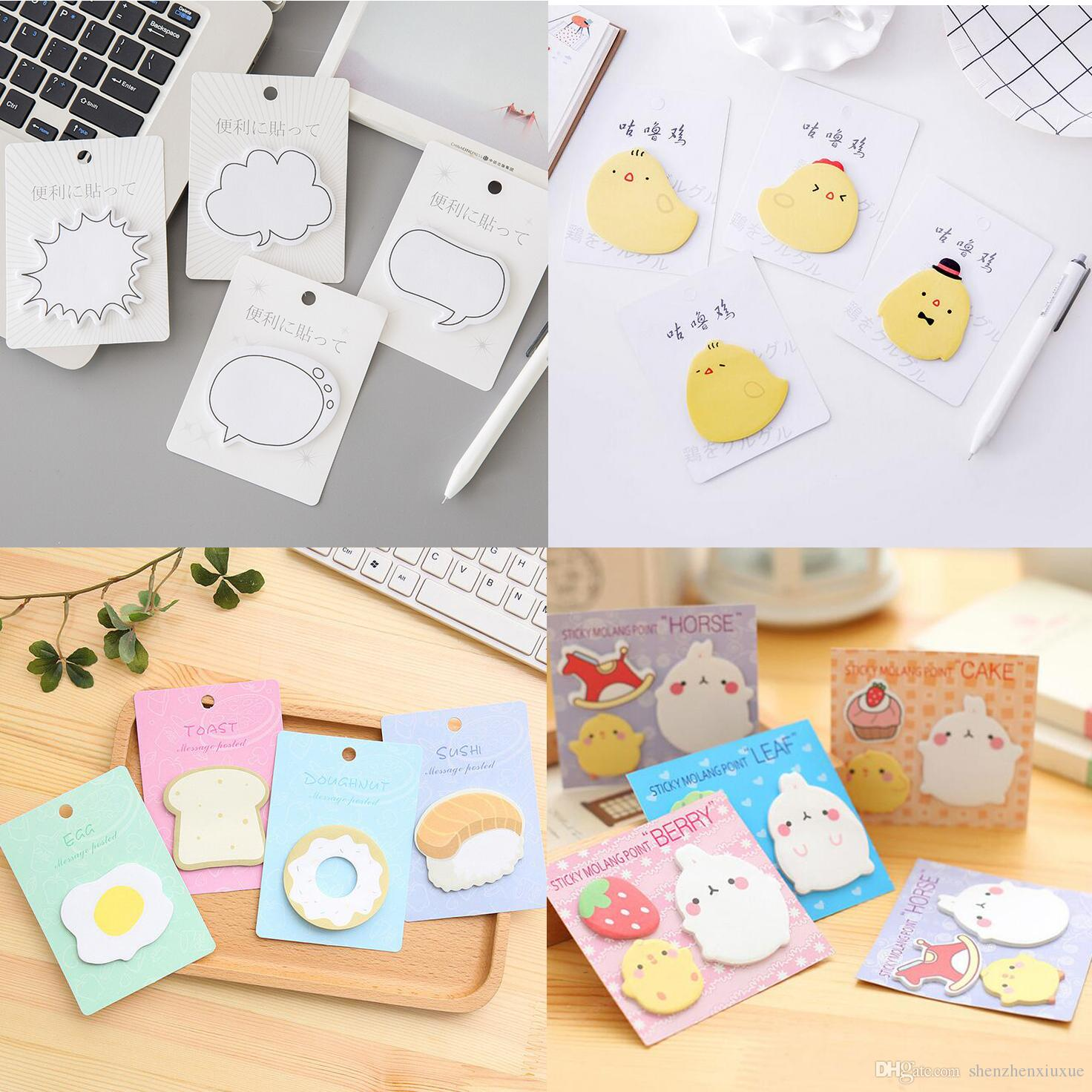 2019 Cute Sticky Notes Memo Pads Creative Cartoons Self Adhesive Paper Notepads Labels Bookmark School Supplies Stationery From