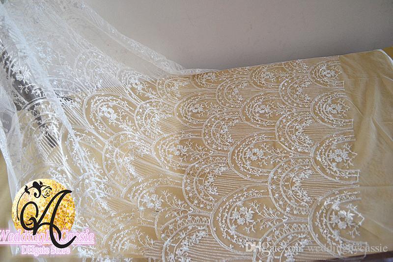 White Wave Glitter Tulle Fabric Embroidery Lace Wedding Dress Gauze
