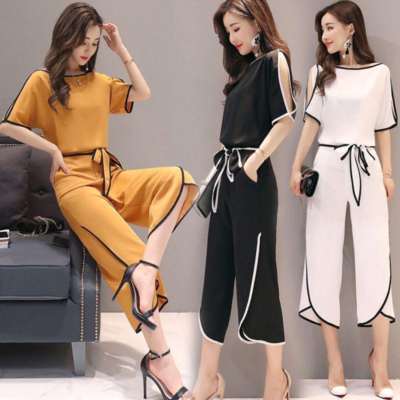c3aaf4343f5 2019 Plus Size M 3XL Fashion Women T Shirts+Wide Leg Pant Two Piece Sets  Summer Woman Chiffon Straps Tops Wide Leg Pant Suits From Bestdh2014