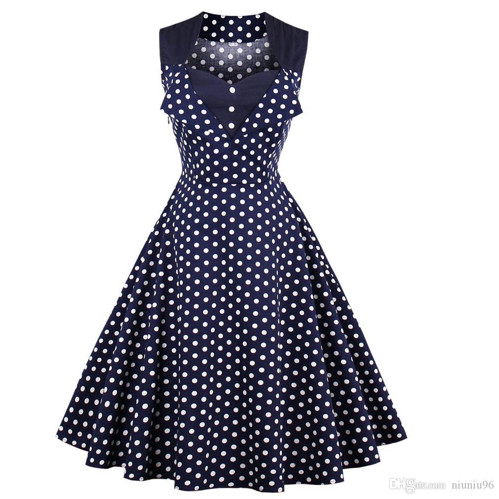 Compre Mujeres 5xl Nueva 50 S 60 S Retro Vintage Vestido De Lunares ...