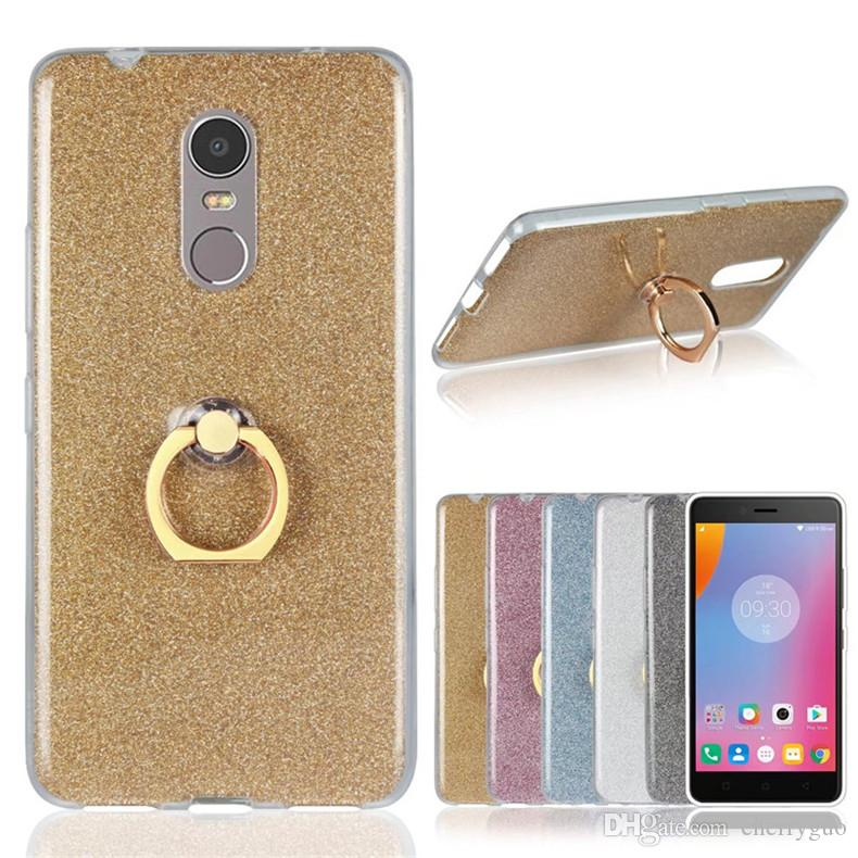 best service 1b839 fbd10 Phone Shell for Lenovo K6 Note , Soft TPU Transparent Bling Back Case Cover  With Ring Holder Stand