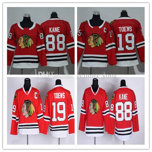 2018 Kids Womens Chicago Blackhawks Jerseys 19 Jonathan Toews 88 Patrick  Kane Red Black Alternate Youth Ladies Hockey Jerseys Cheap UK 2019 From  Gemma yong 6d35169355