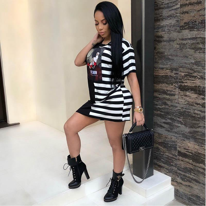 Summer women dress T-shirt Hot selling fashion casual sexy figure print sweater shirt dress Solid color stripe stitching Comfortable skin-fr