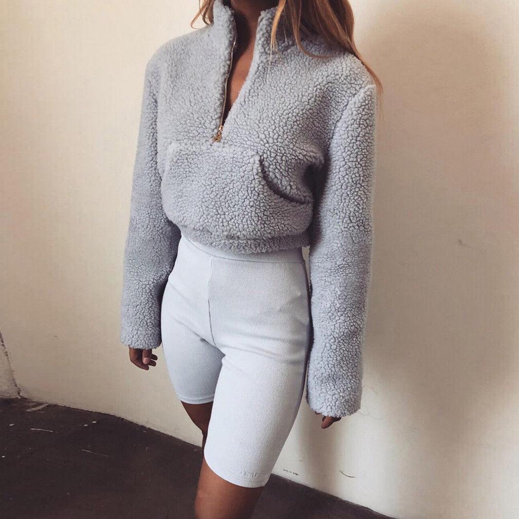 1cbd588a8fe 2019 Women Winter Teddy Bear Pocket Fluffy Coat Fleece Fur Hoodies Ladies Casual  Solid Zipper Outerwear Sweatshirts Pullover From Modeng04