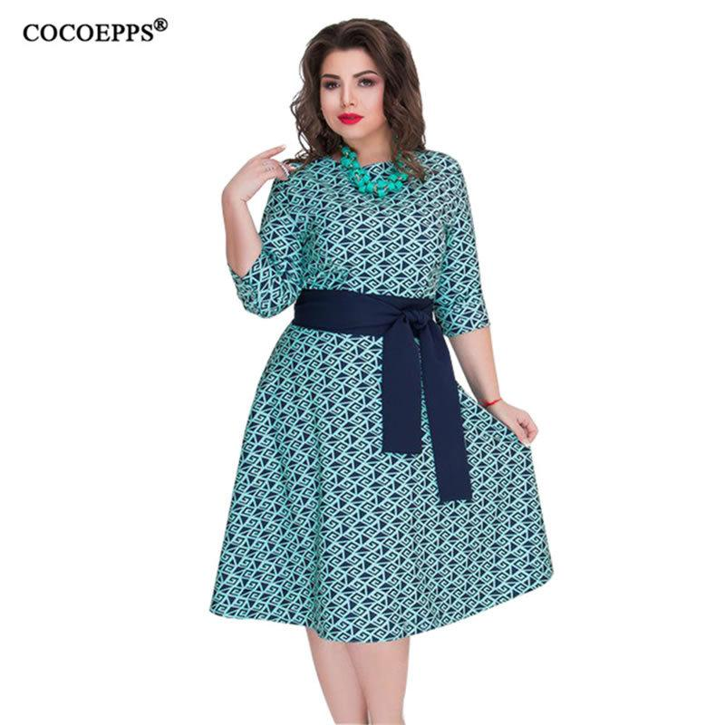 ebf37c7ca6fa4 2018 Cocoepps 2018 New Plus Size 6xl Autumn Winter Dress Women Casual Print  With Sashes Dress Big Size Female Elegant Dress Vestidos D18110606 From  Xiao0002 ...