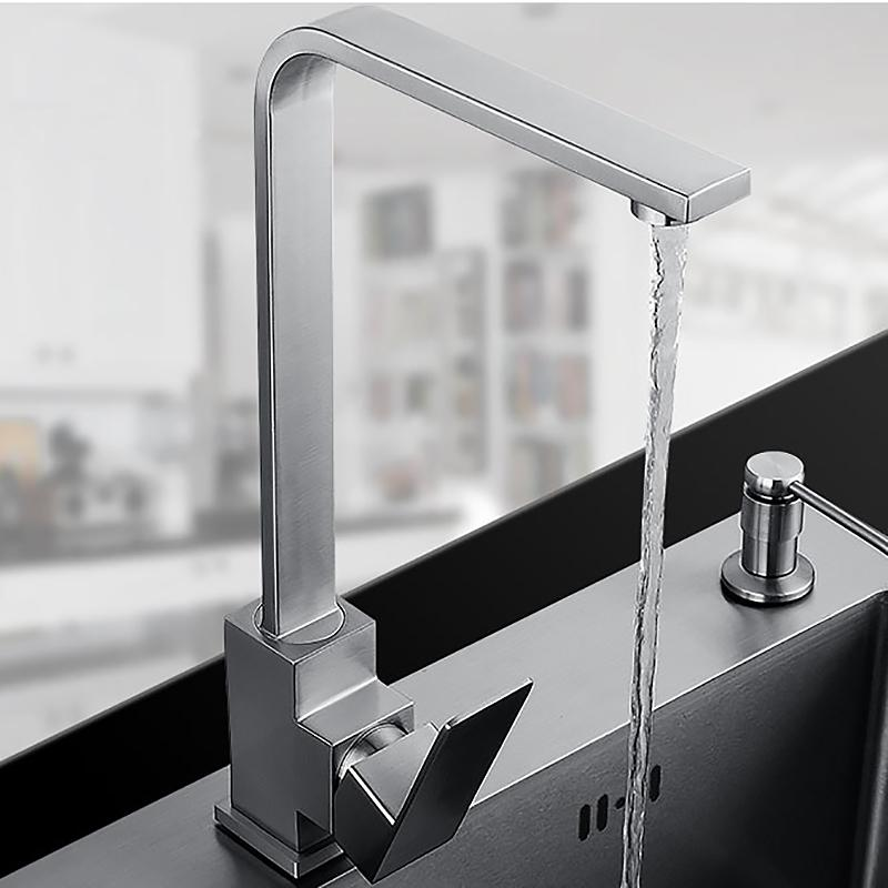 2019 Square Design Stainless Steel Kitchen Faucet Mixer Sink Faucet
