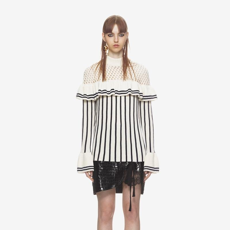 6e997a1a296f8 Women Sweater Dress 2018 Runway Self Portrait Knitted Dress Cutout Ruffle  Flare Sleeve Vertical striped Side Slit Knitwear